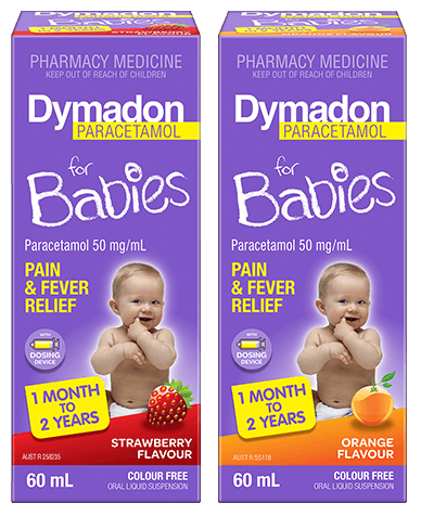 Packshot of Dymadon Paracetamol for Babies 1month to 2 years 60ml in Orange and Strawberry Flavours
