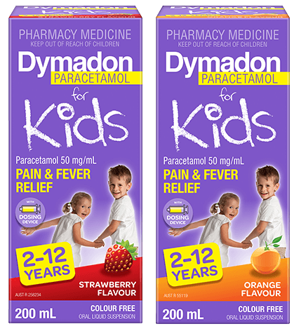 Packshot of Dymadon Paracetamol for Kids 2-12years 200ml in Orange and Strawberry Flavours