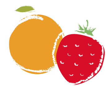 Strawberry and orange cartoon drawing