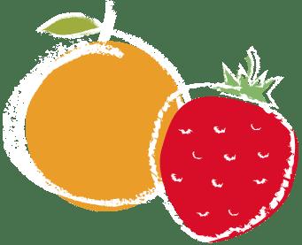 Strawberry and orange cartoon drawing